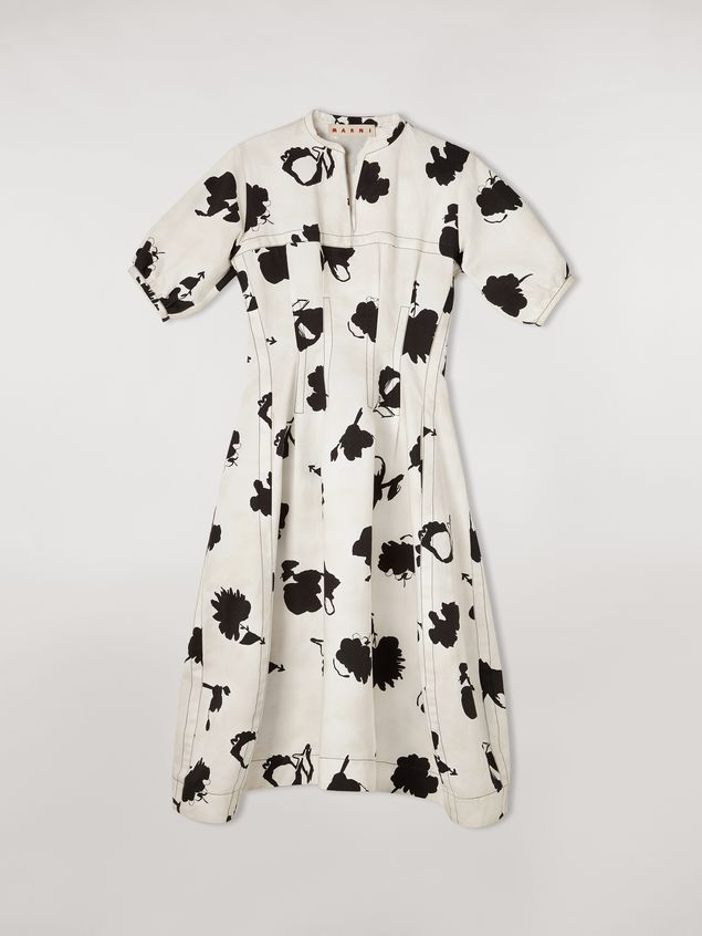 Marni Linen and cotton drill flared dress Happy print Woman - 2