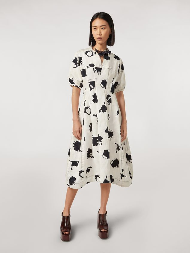 Marni Linen and cotton drill flared dress Happy print Woman - 1