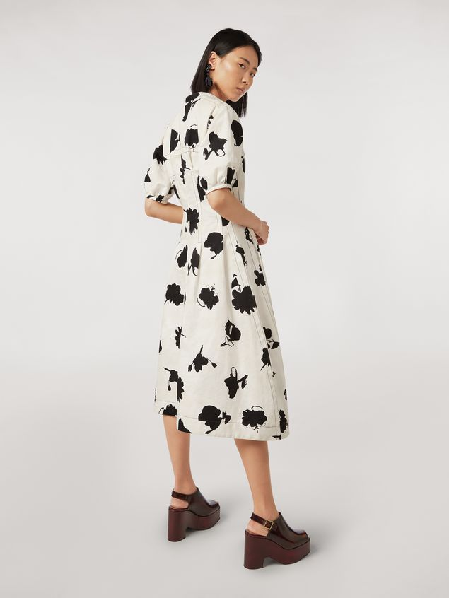 Marni Linen and cotton drill flared dress Happy print Woman - 3