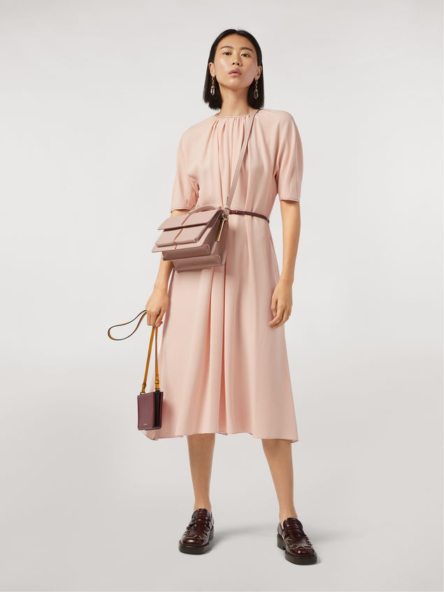 Marni Dress in envers crepe satin with zig-zag topstitching Woman - 1