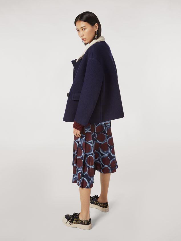 Marni Chaqueta de sarga de lana con fieltro y cuello en contraste Mujer