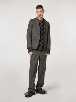 Marni Chaqueta de lana con microestampado de cuadros Hombre