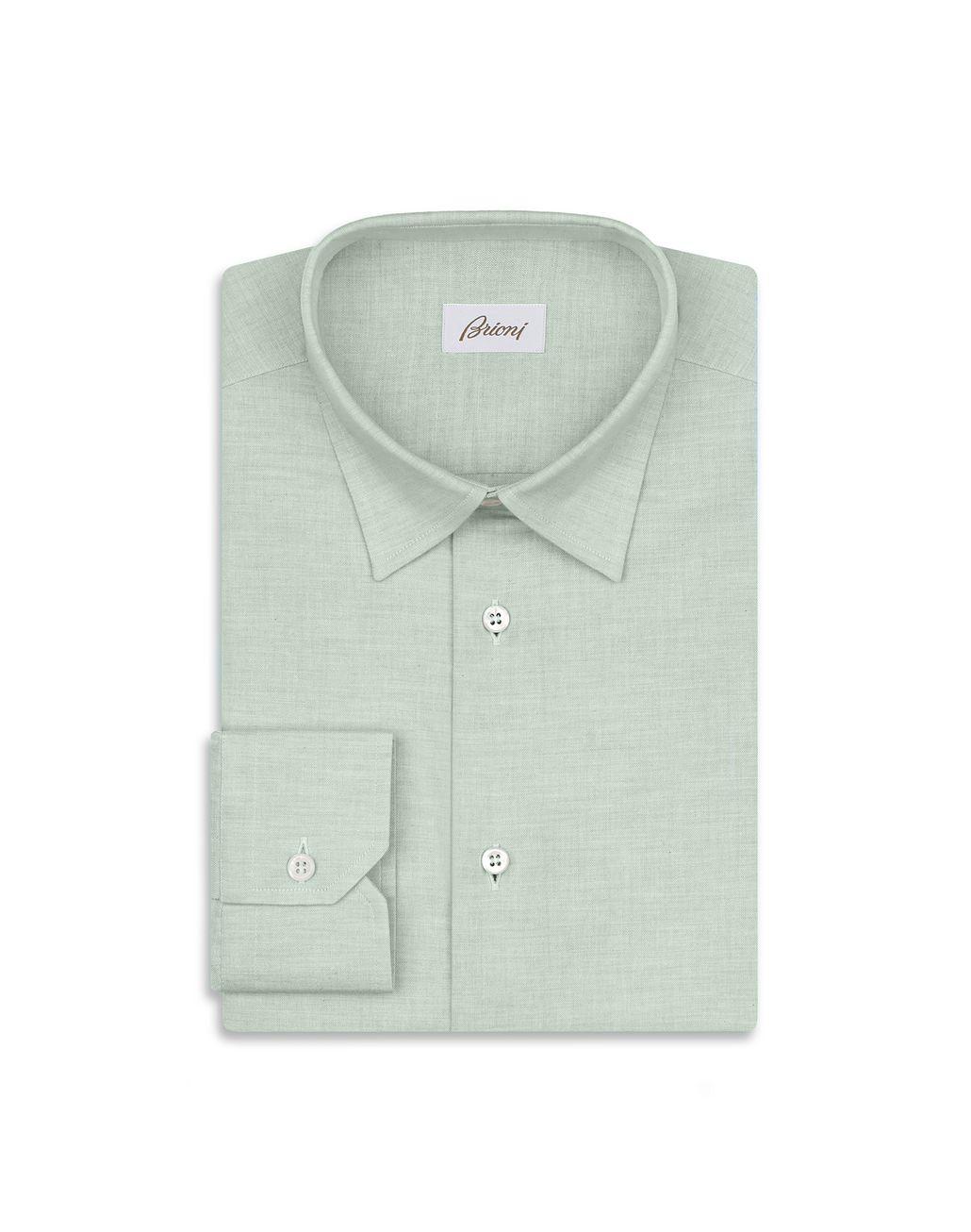 BRIONI Green Cotton Shirt Leisure shirt Man f