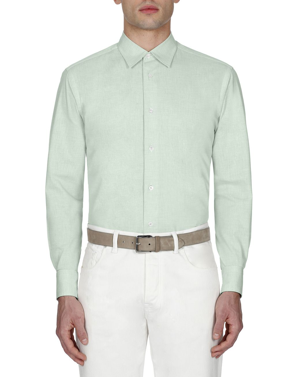 BRIONI Green Cotton Shirt Leisure shirt Man r
