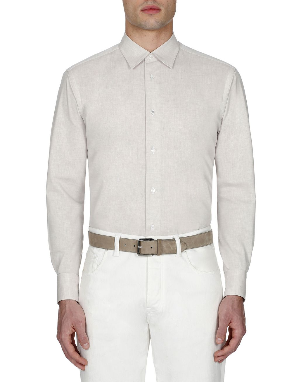 BRIONI Beige Cotton Shirt Leisure shirt Man r