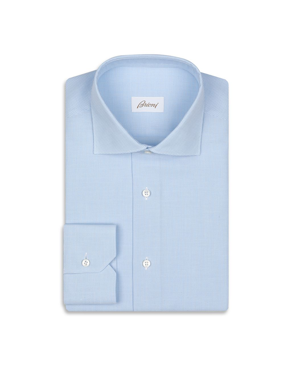 BRIONI Light Blue Houndstood Shirt Shirt Man f