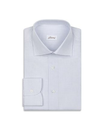 White and Light Blue Micro Checked Shirt