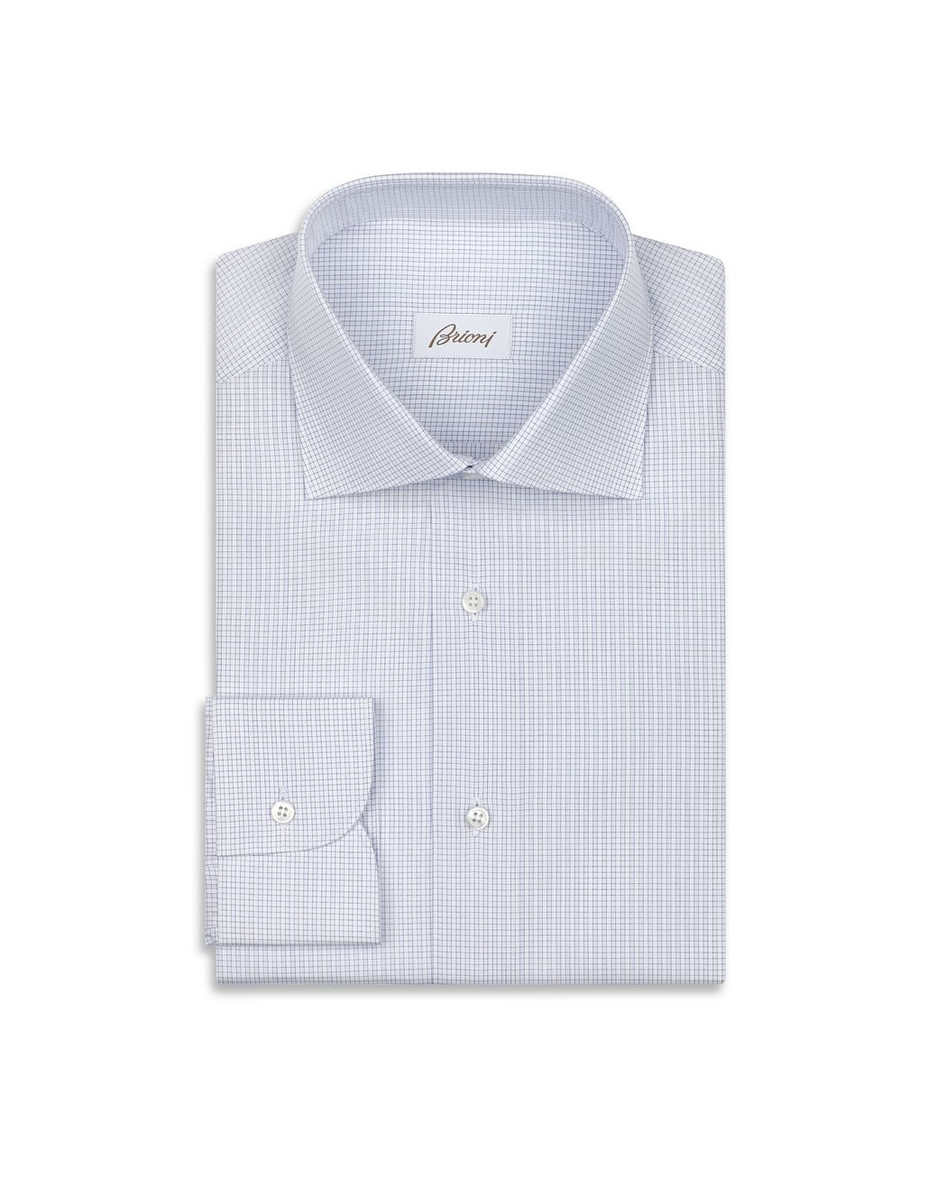 BRIONI White and Light Blue Micro Checked Shirt  Formal shirt Man f