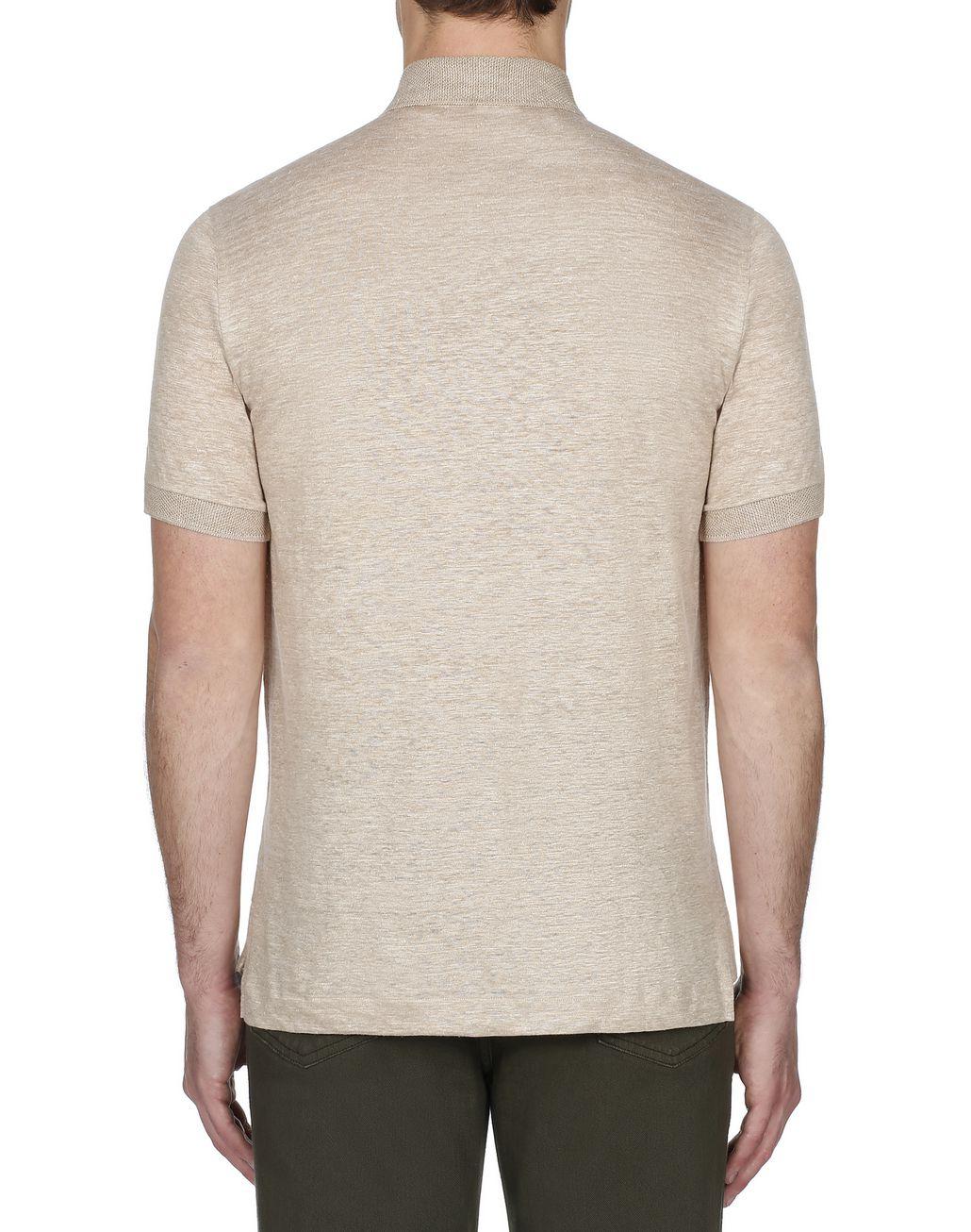 BRIONI Beige Linen Polo Shirt T-Shirts & Polos Man d