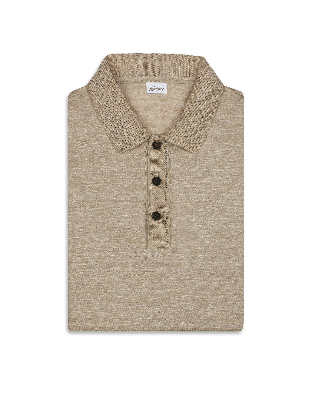 BRIONI Beige Linen Polo Shirt T-Shirts & Polos Man e