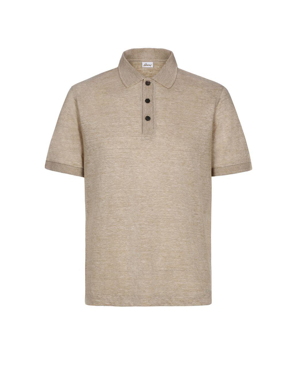 BRIONI Beige Linen Polo Shirt T-Shirts & Polos Man f