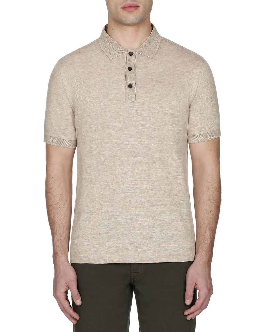 BRIONI Beige Linen Polo Shirt T-Shirts & Polos Man r