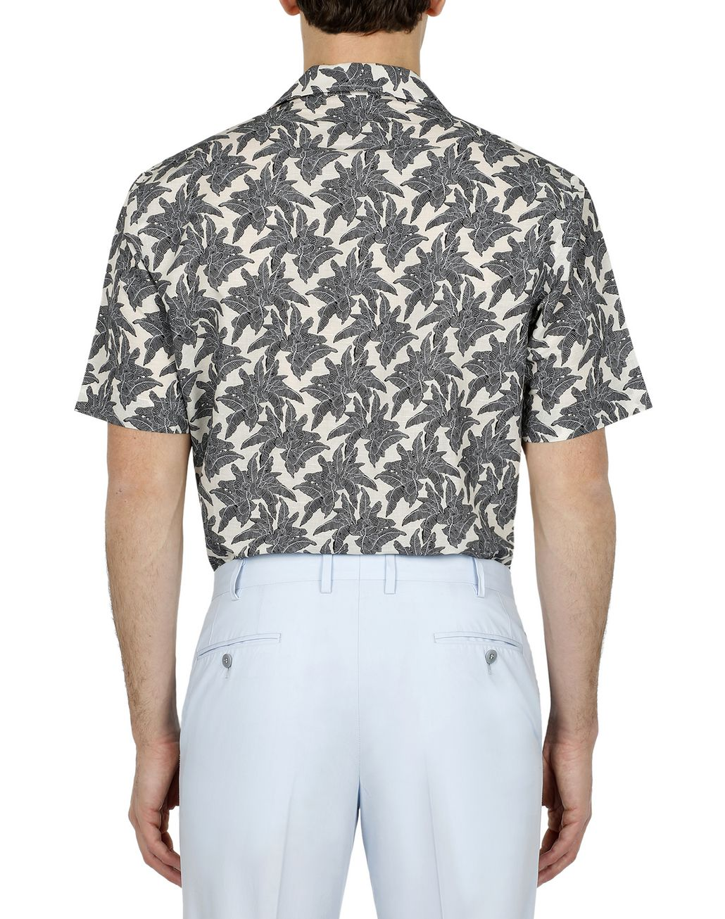 BRIONI Brown Printed Short Sleeves Shirt Leisure shirt Man d
