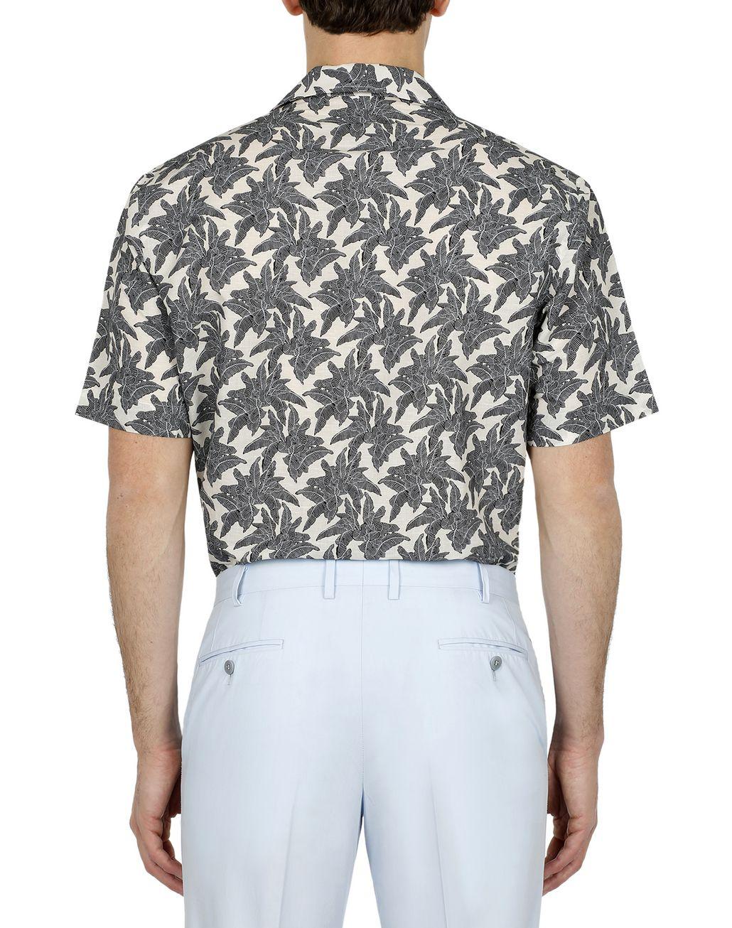 BRIONI Brown Printed Short Sleeves Shirt Leisure shirt Man d