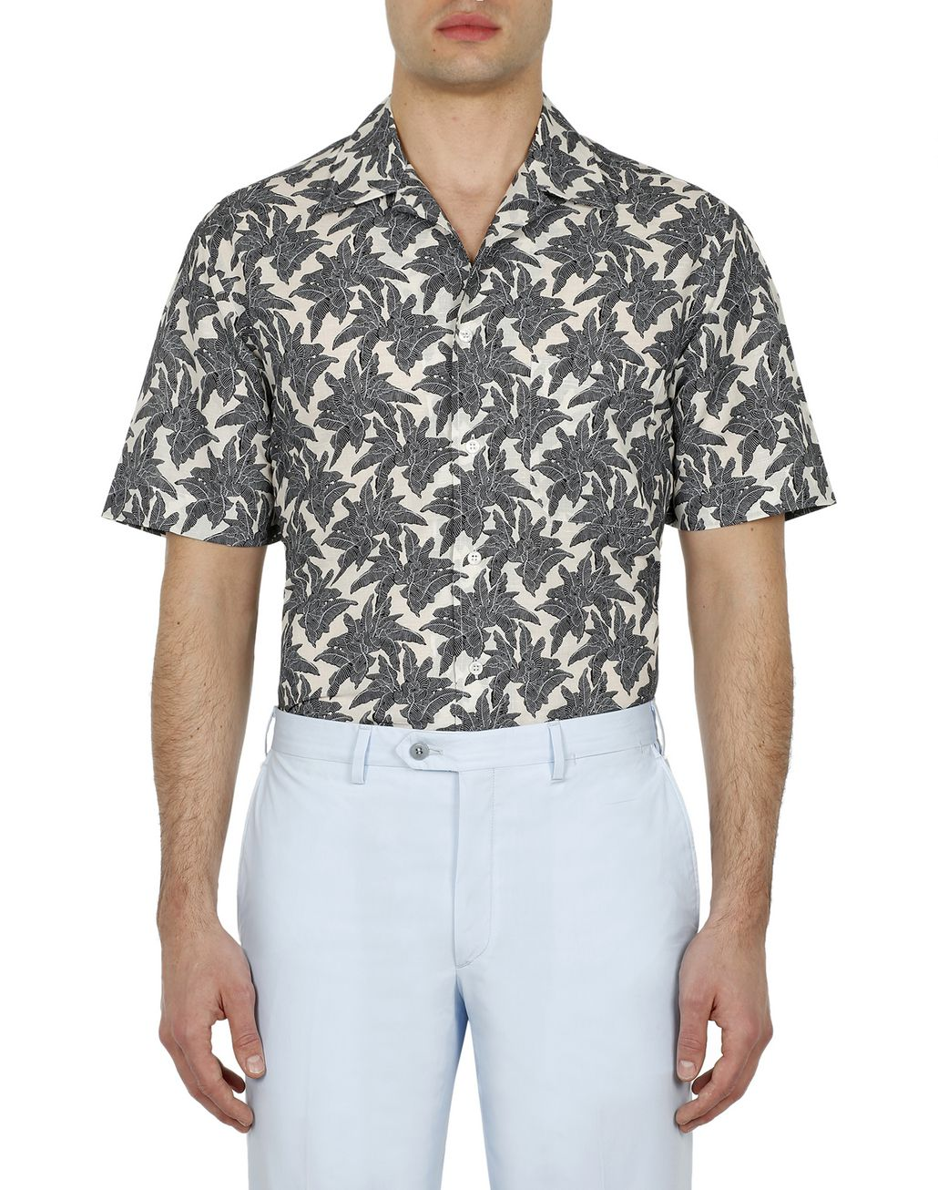 BRIONI Brown Printed Short Sleeves Shirt Leisure shirt Man r