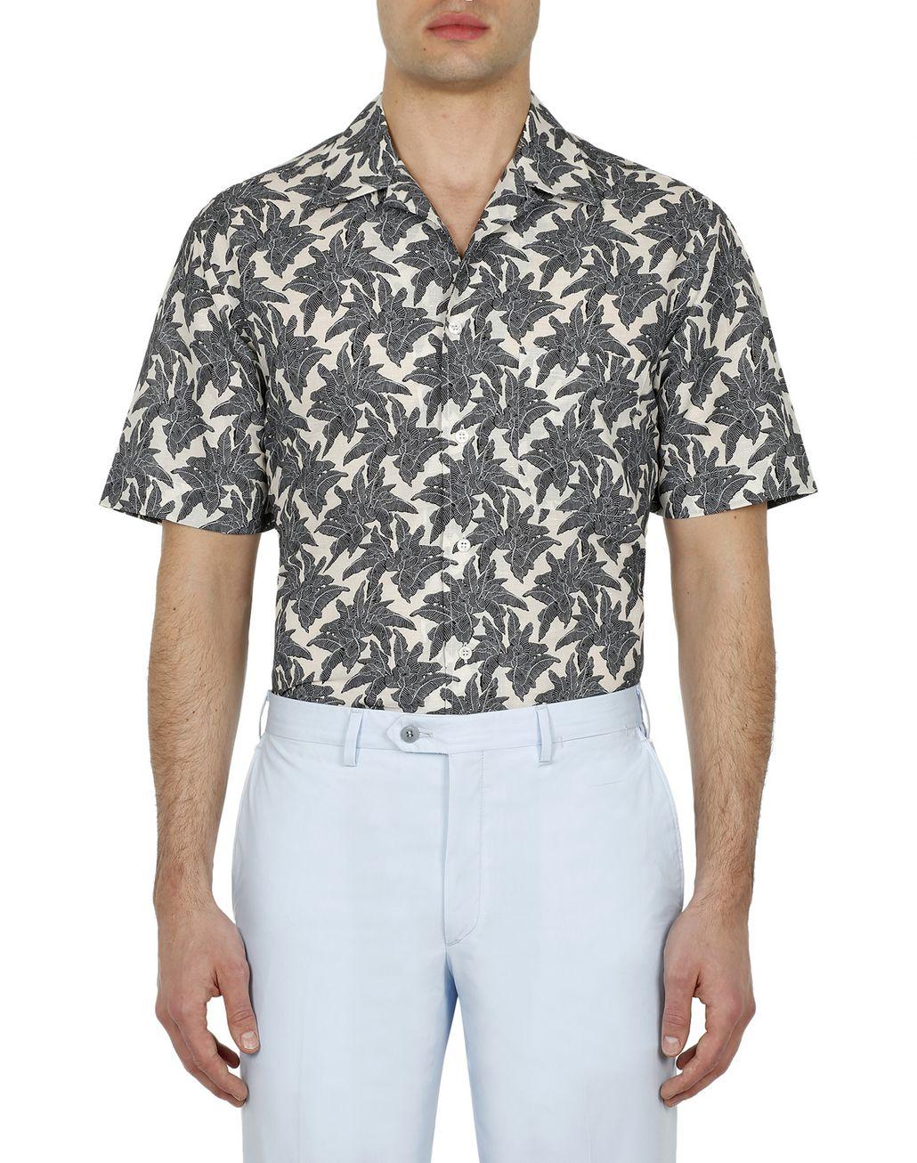 BRIONI Brown Printed Short Sleeves Shirt Leisure shirt Man r