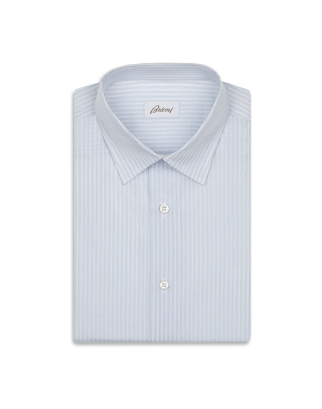 BRIONI Light Blue and White Seersucker Shirt Leisure shirt Man f