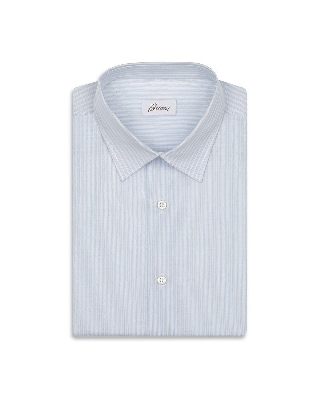 BRIONI Рубашка из ткани сирсакер голубого и белого цветов Повседневная рубашка Для Мужчин f