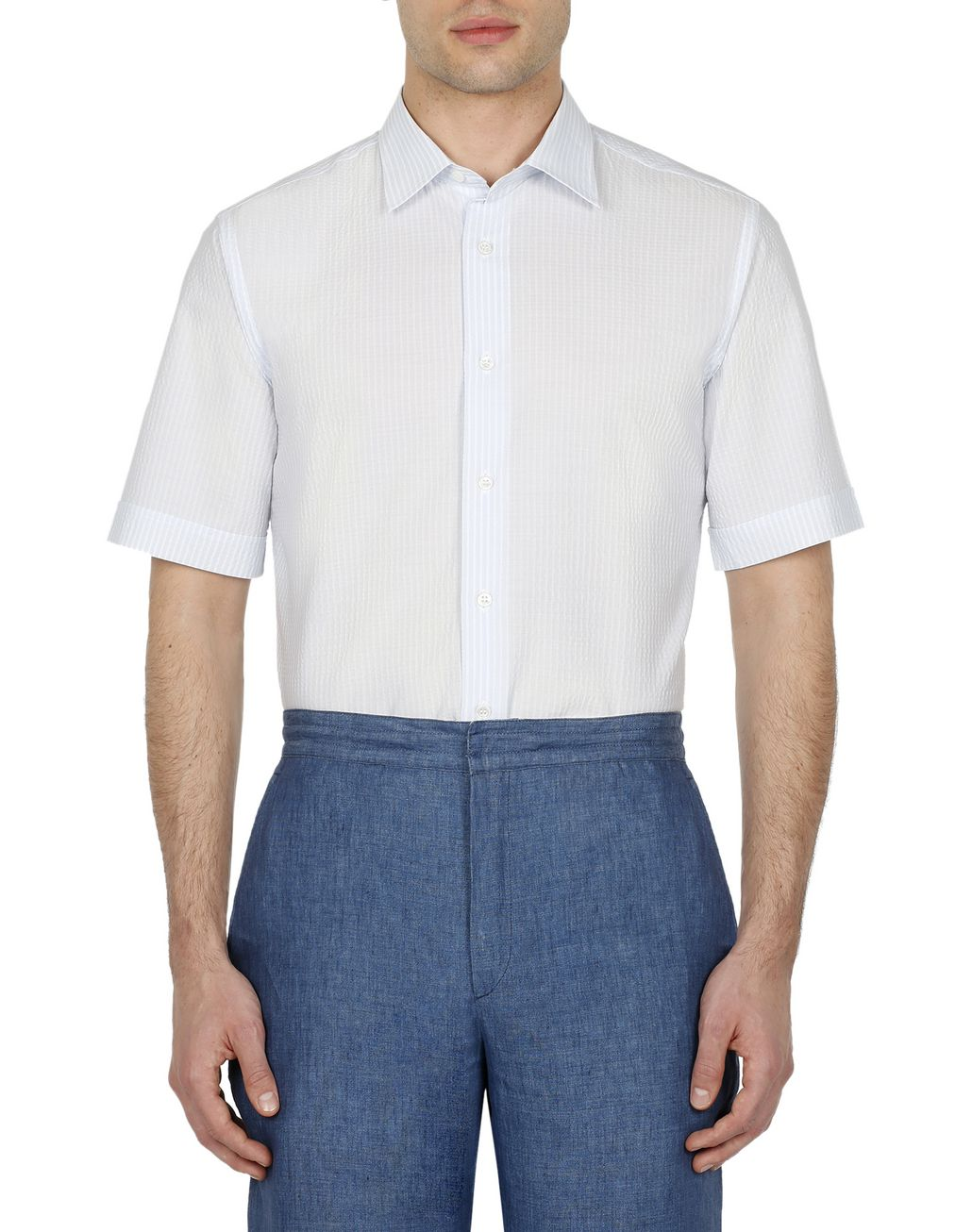 BRIONI Light Blue and White Seersucker Shirt Leisure shirt Man r