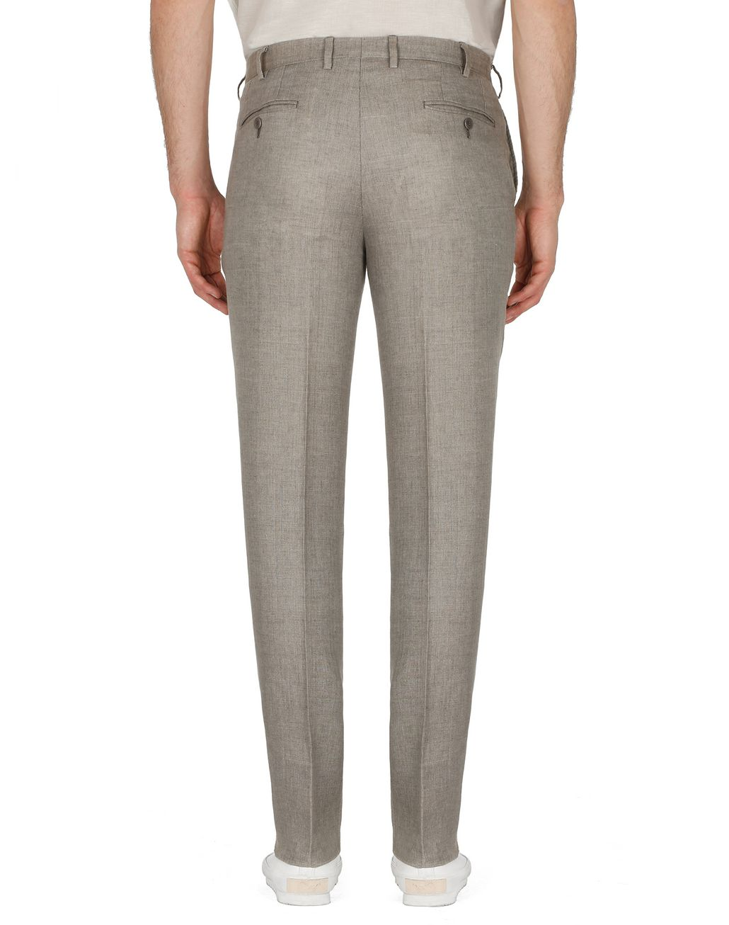 BRIONI Taupe Linen Trousers Trousers Man d