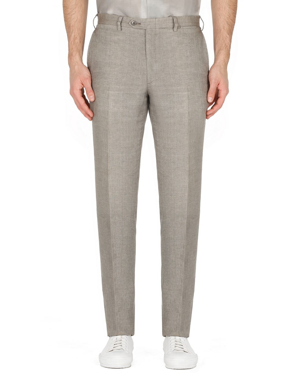BRIONI Taupe Linen Trousers Trousers Man r