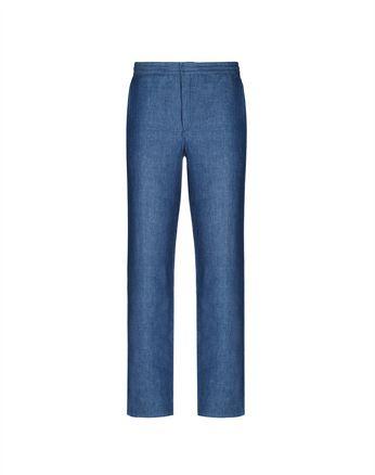Синие льняные брюки