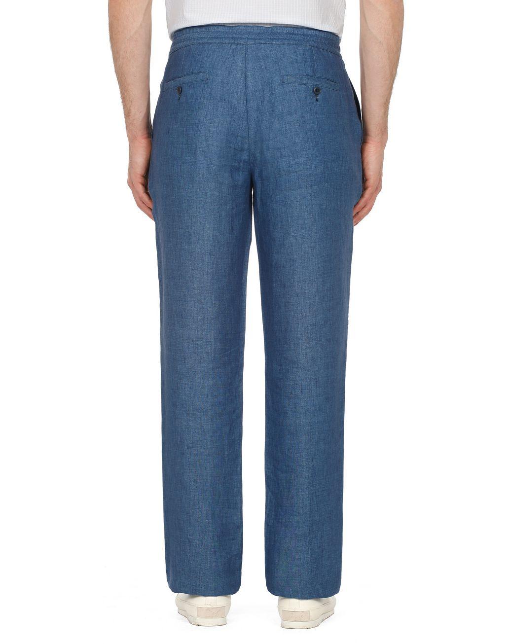 BRIONI Blue Linen Trousers Trousers Man d