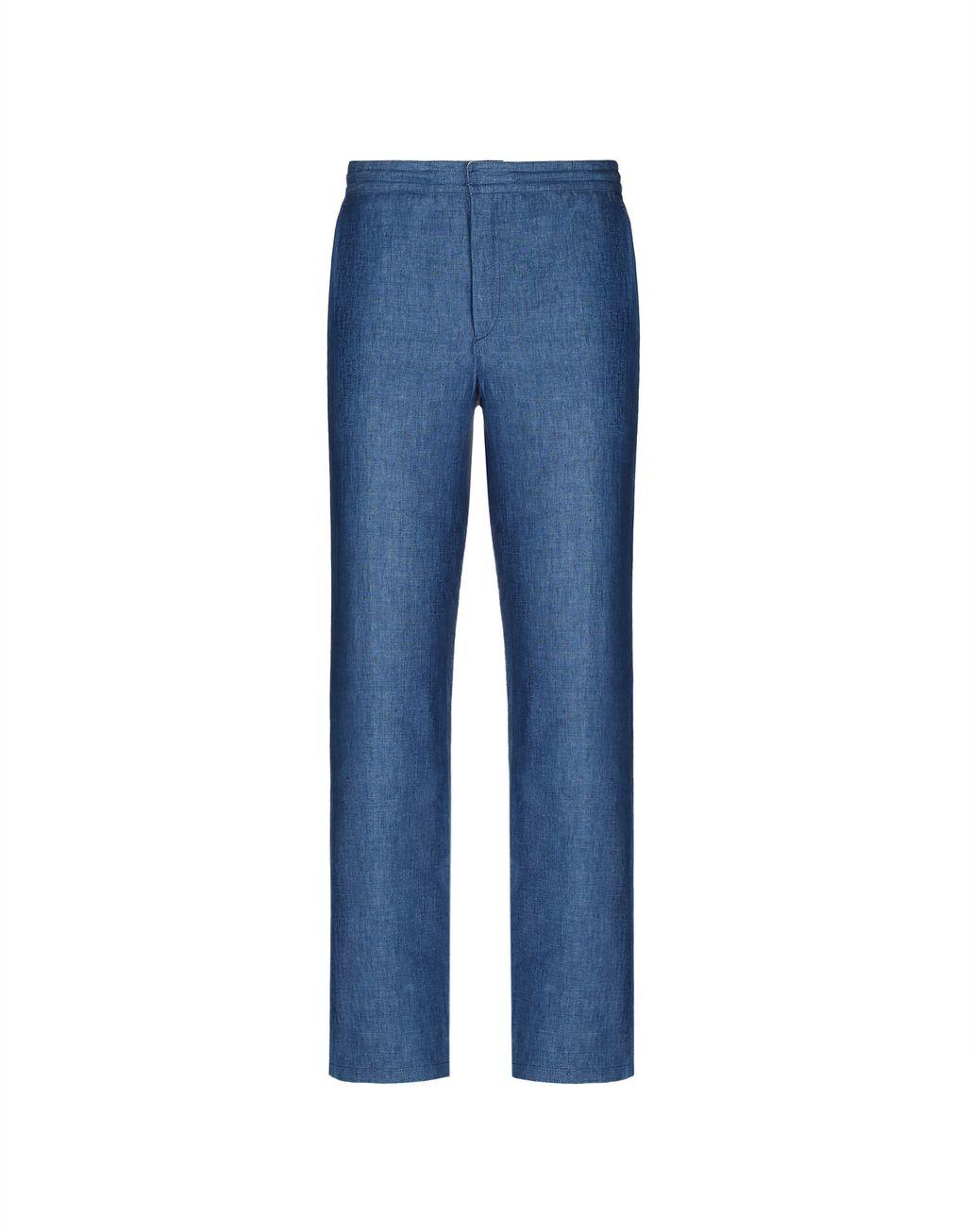 BRIONI Blue Linen Trousers Trousers Man f