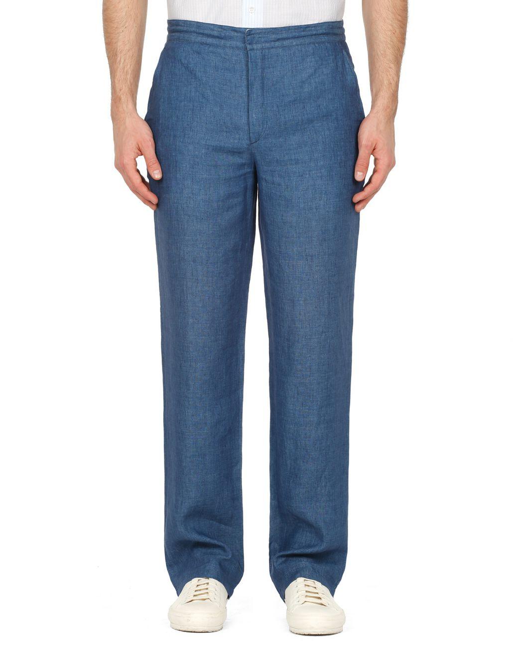 BRIONI Blue Linen Trousers Trousers Man r