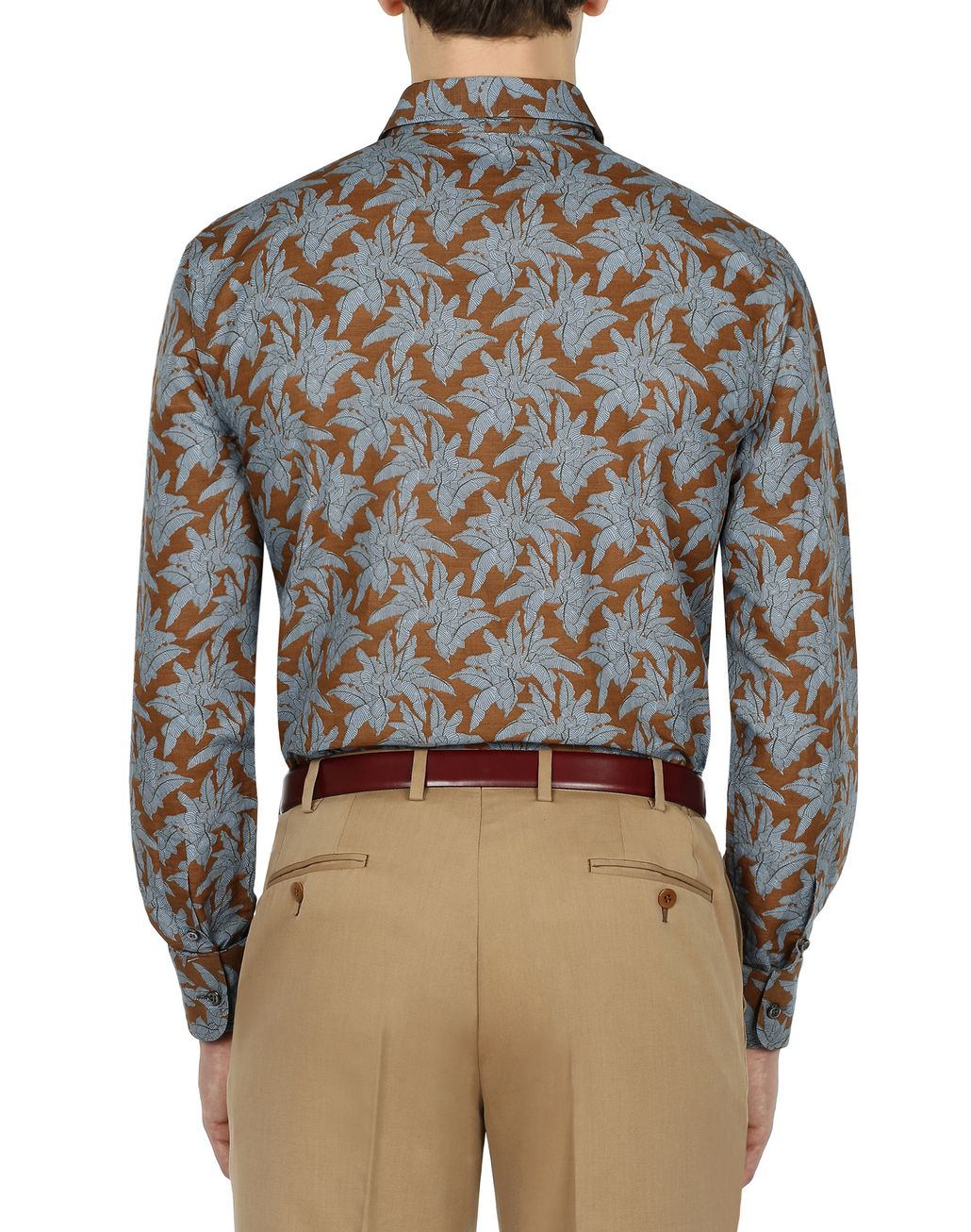 BRIONI Brown Printed Shirt Leisure shirt Man d