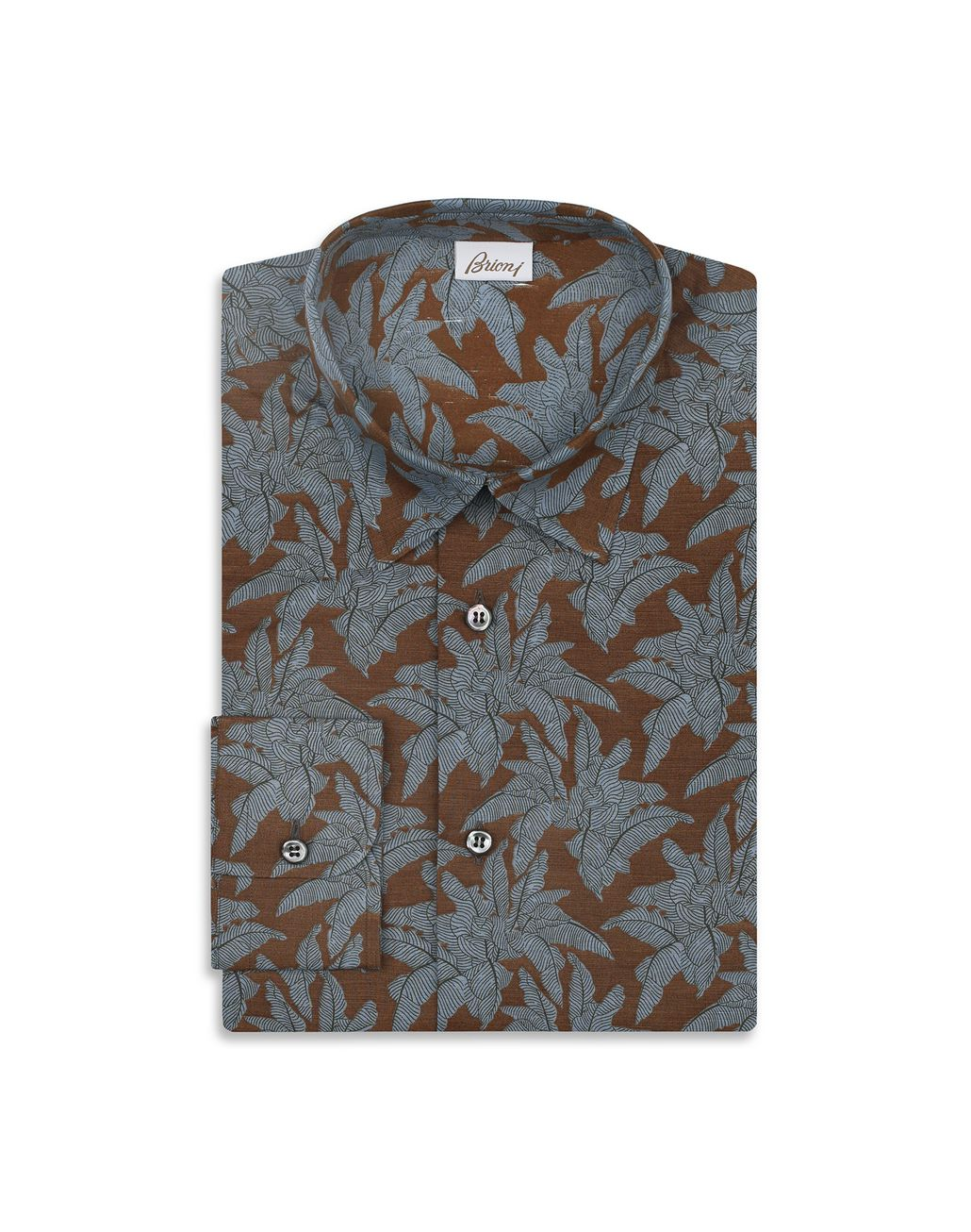 BRIONI Brown Printed Shirt Leisure shirt Man f