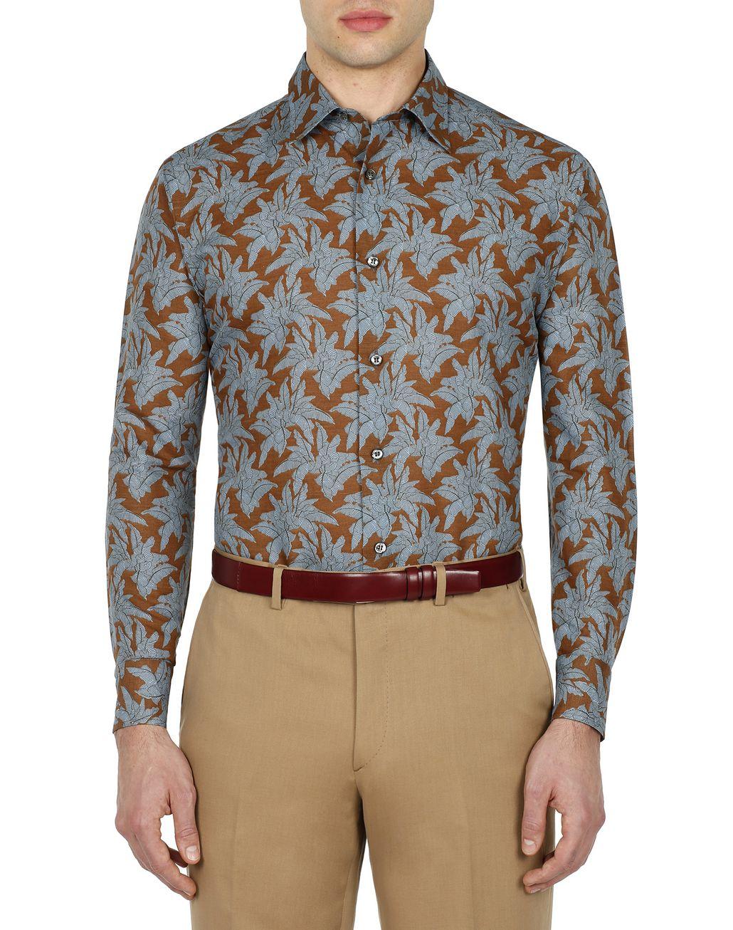 BRIONI Brown Printed Shirt Leisure shirt Man r