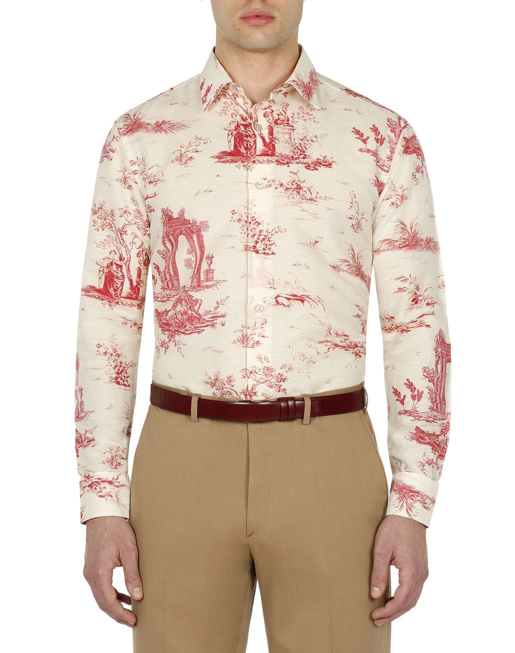 BRIONI White Printed Shirt Leisure shirt Man r