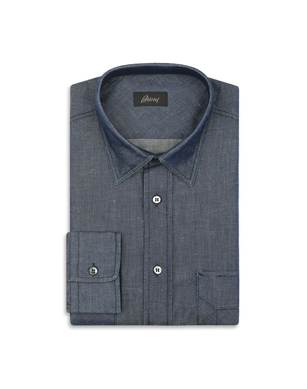 BRIONI Navy Blue Denim Shirt Leisure shirt Man f