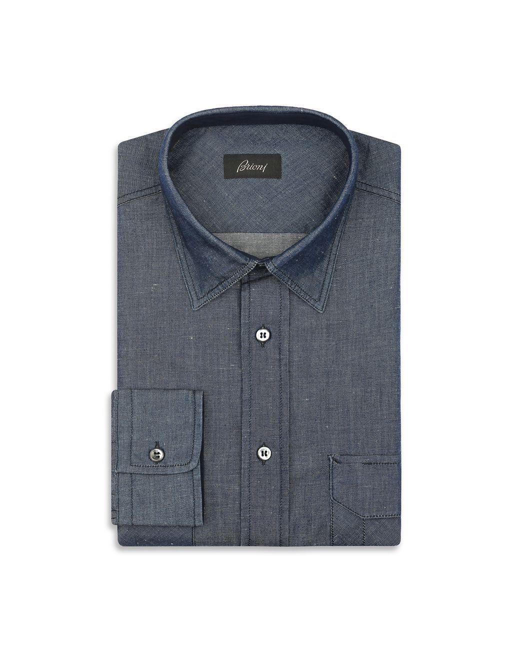 BRIONI Тёмно-синяя джинсовая рубашка Повседневная рубашка Для Мужчин f