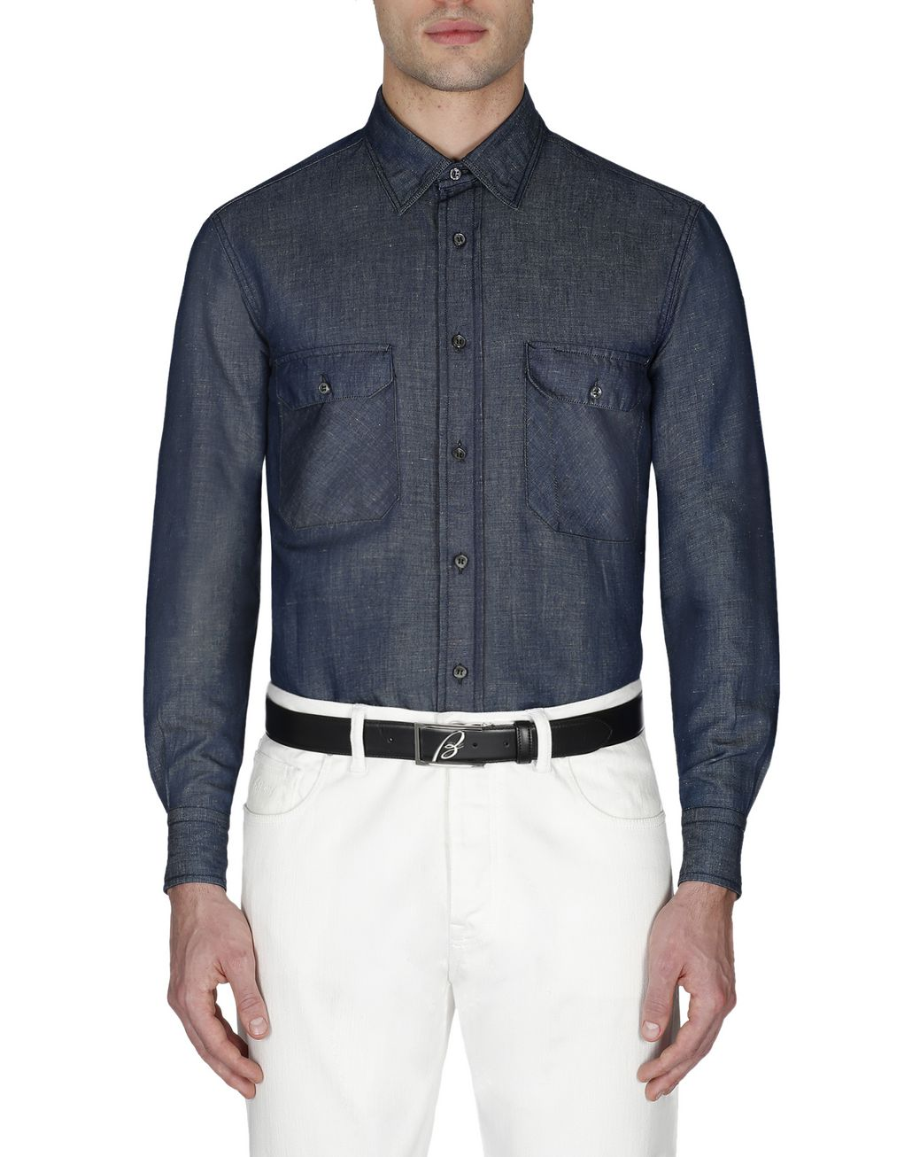 BRIONI Navy Blue Denim Shirt Leisure shirt Man r
