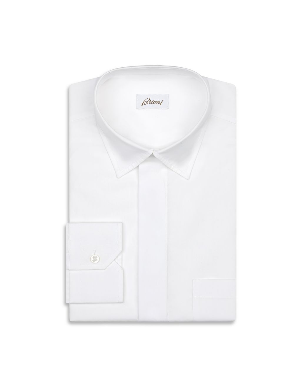 BRIONI White Half Placket Shirt Leisure shirt Man f
