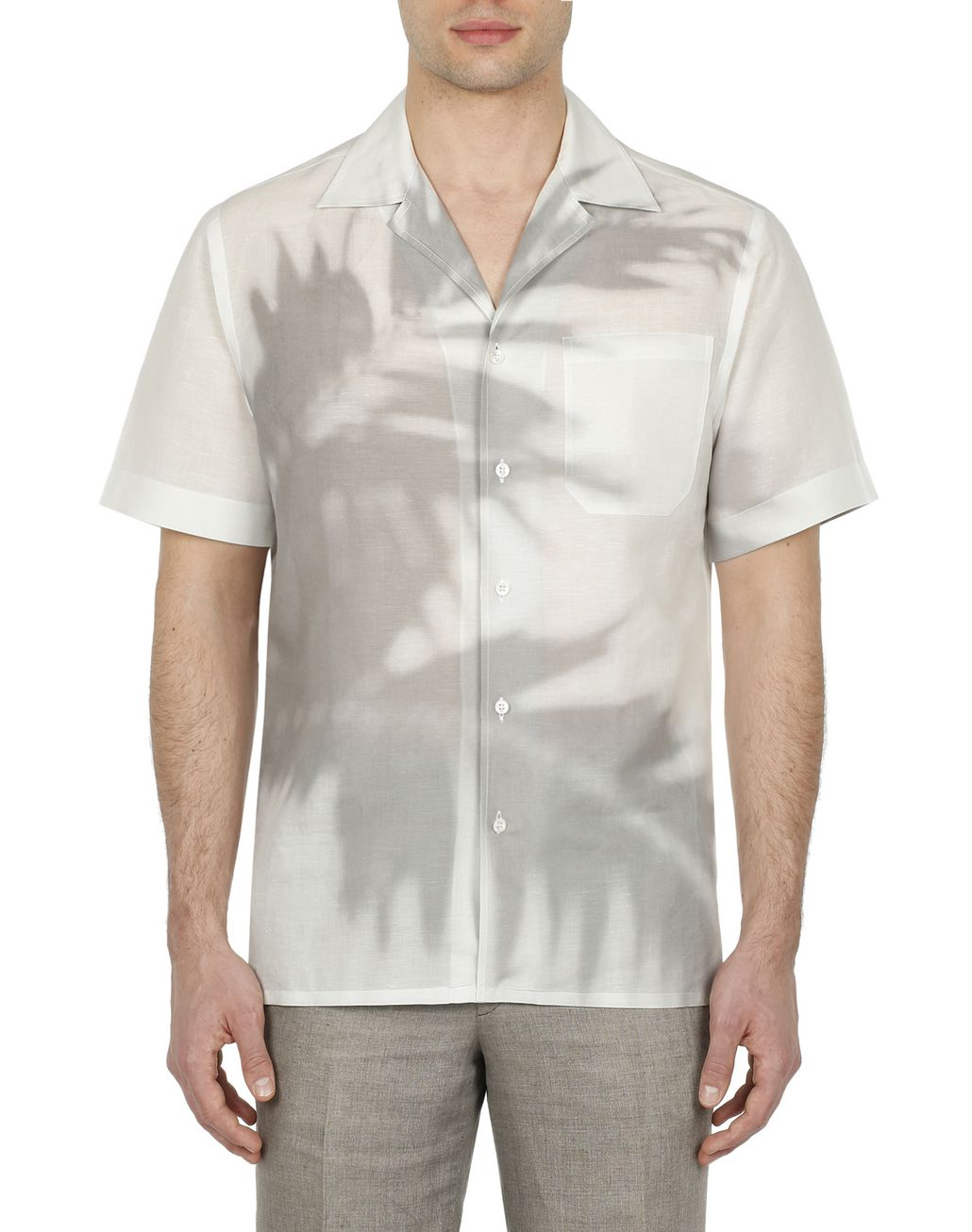 BRIONI Grey Short Sleeves Shirt Leisure shirt Man r