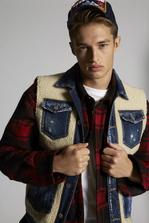 DSQUARED2 Fleece Vest With Denim Details And Back Mountain Print Vest Man