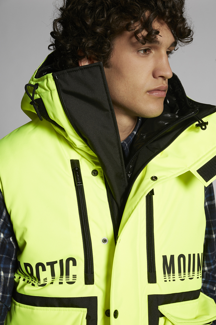 DSQUARED2 Technical Layered Double Hooded Vest With Back Mountain Print Vest Man