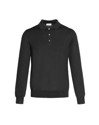 'Essential' Black Long Sleeved Polo Shirt
