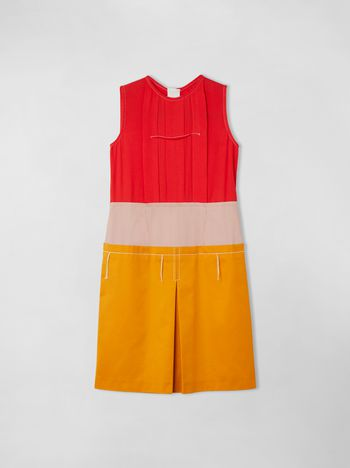 Marni COLOR-BLOCK SLEEVELESS DRESS IN COTTON AND VISCOSE Woman f