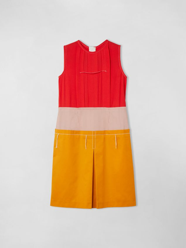 Marni SLEEVELESS COTTON AND VISCOSE COLORBLOCK DRESS Woman - 1