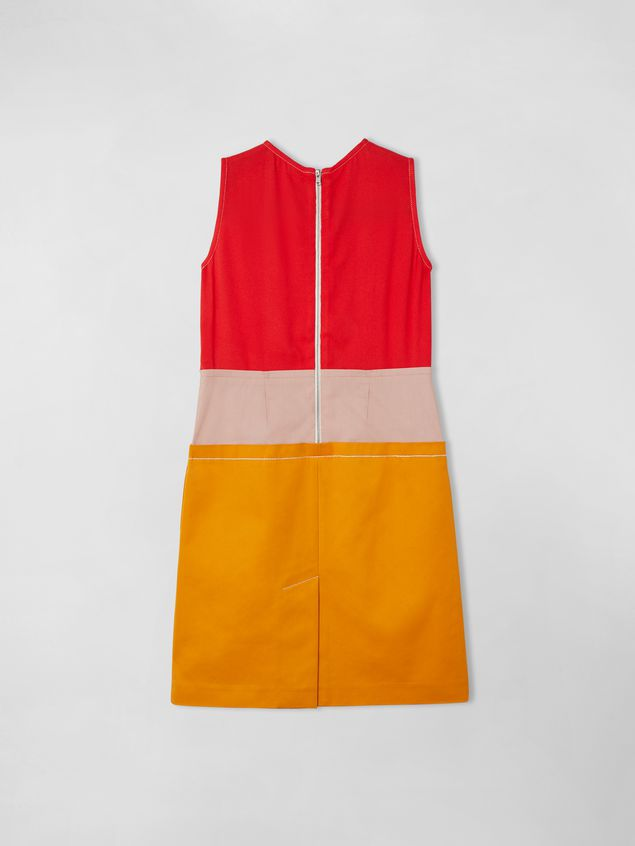 Marni SLEEVELESS COTTON AND VISCOSE COLORBLOCK DRESS Woman - 3