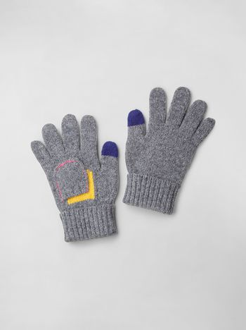 Marni COLOR-BLOCK WOOL GLOVES   Woman f