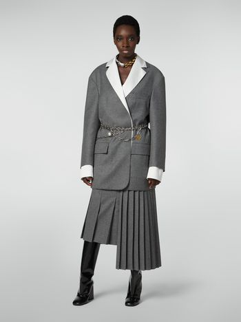Marni Masculine jacket in compact wool flannel Woman f