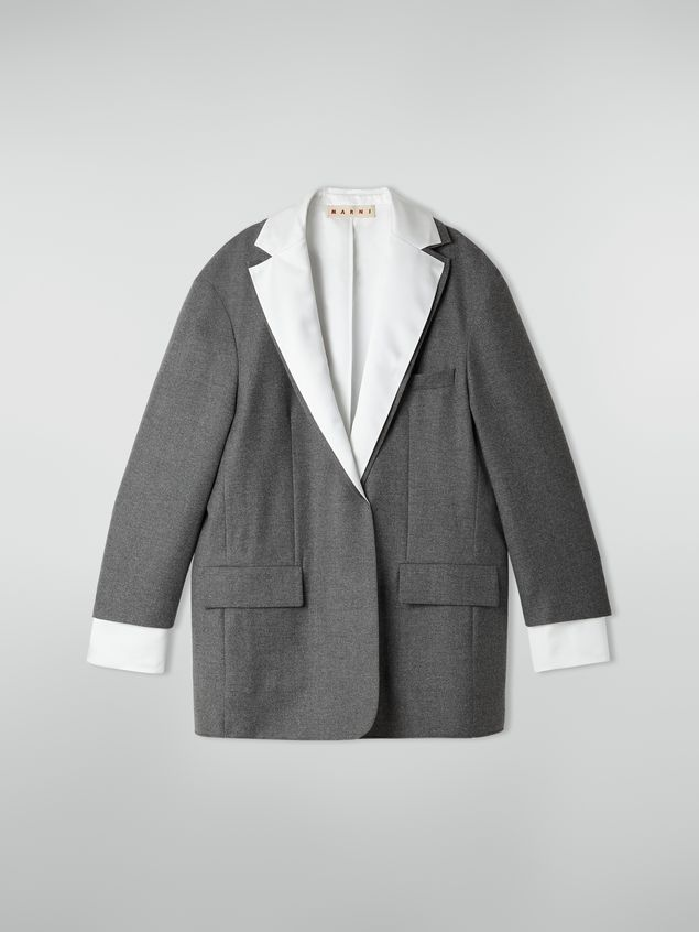 Marni Masculine jacket in compact wool flannel Woman - 2