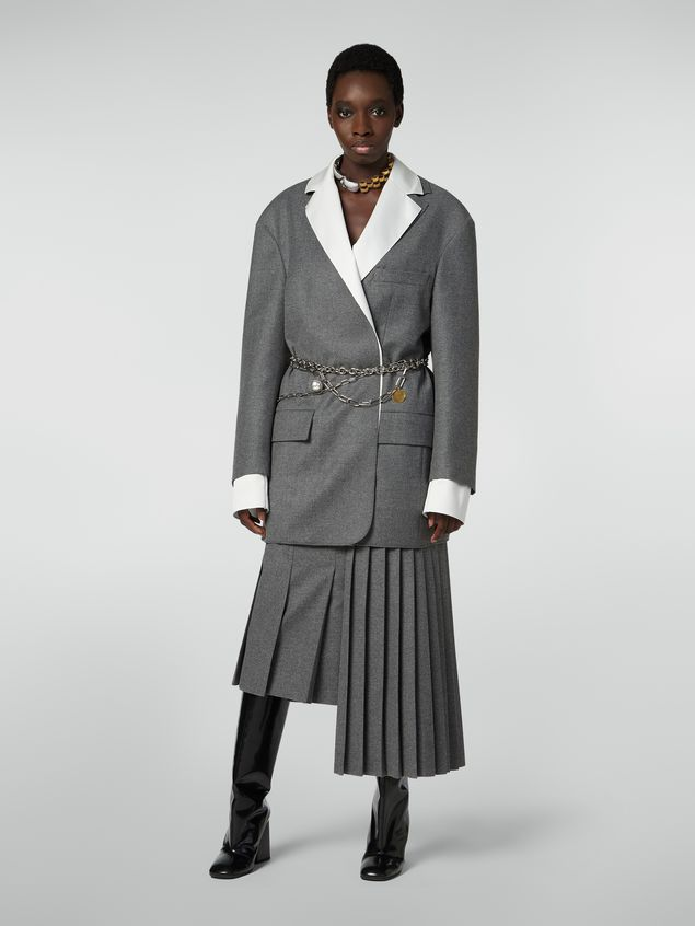Marni Masculine jacket in compact wool flannel Woman - 1