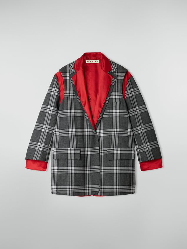 Marni Masculine jacket in chequered motif, yarn-dyed wool Woman - 2