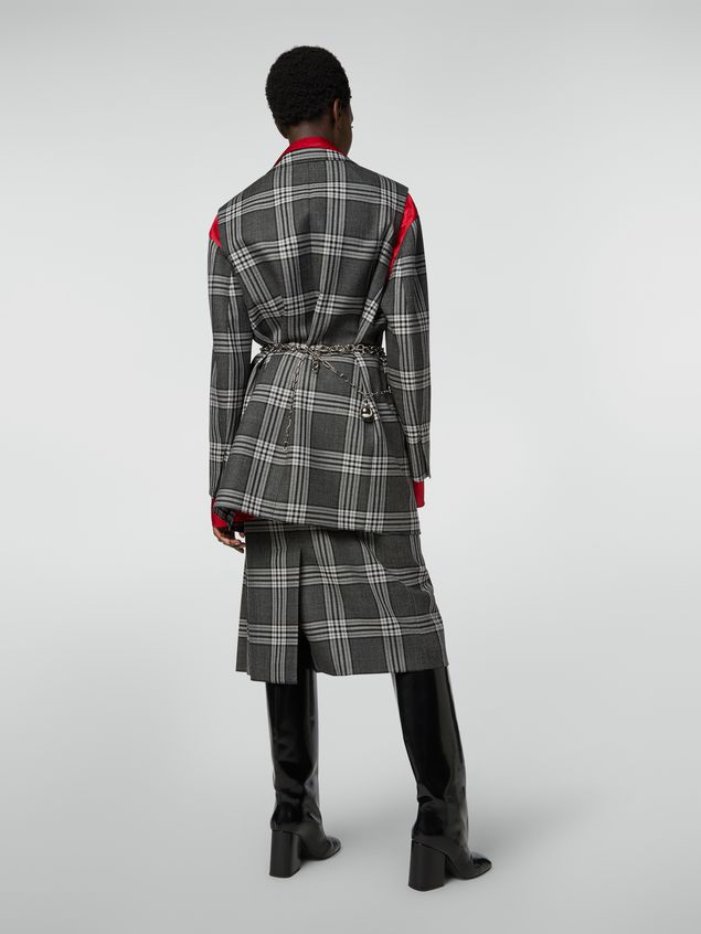 Marni Masculine jacket in chequered motif, yarn-dyed wool Woman - 3